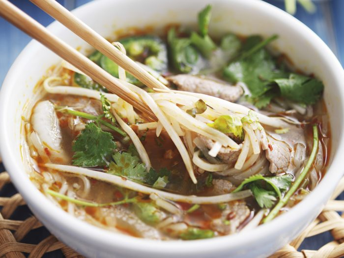 bowl of vietnamese Pho Tai beef soup